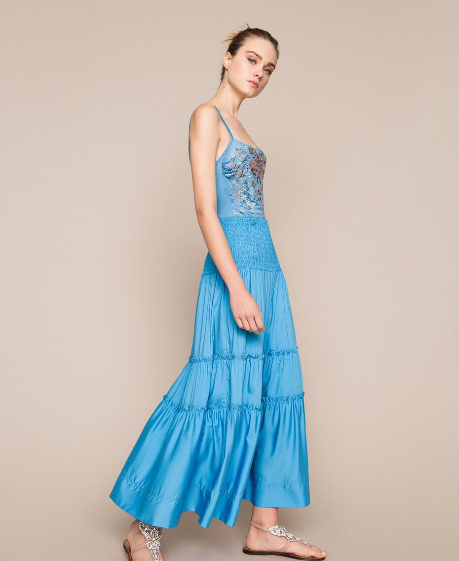 Robe-jupe avec volants Bleu «Waterfall» Femme 201LB2BEE-02