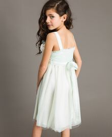 """Tulle dress with flower-shaped brooch Blue Clear """"Water"""" Child 191GJ2QM0-04"""