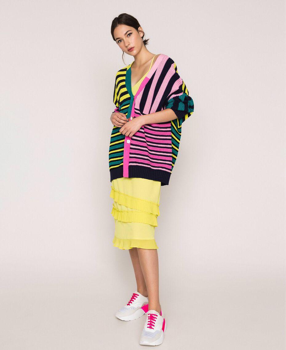Maxicardigan mit mehrfarbigen Streifen Multicolor Frau 201ST3100-0T