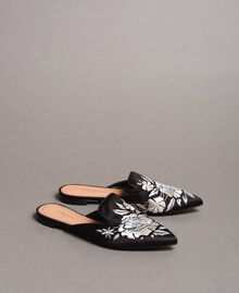 Embroidered satin mules Black Woman 191TCT014-01