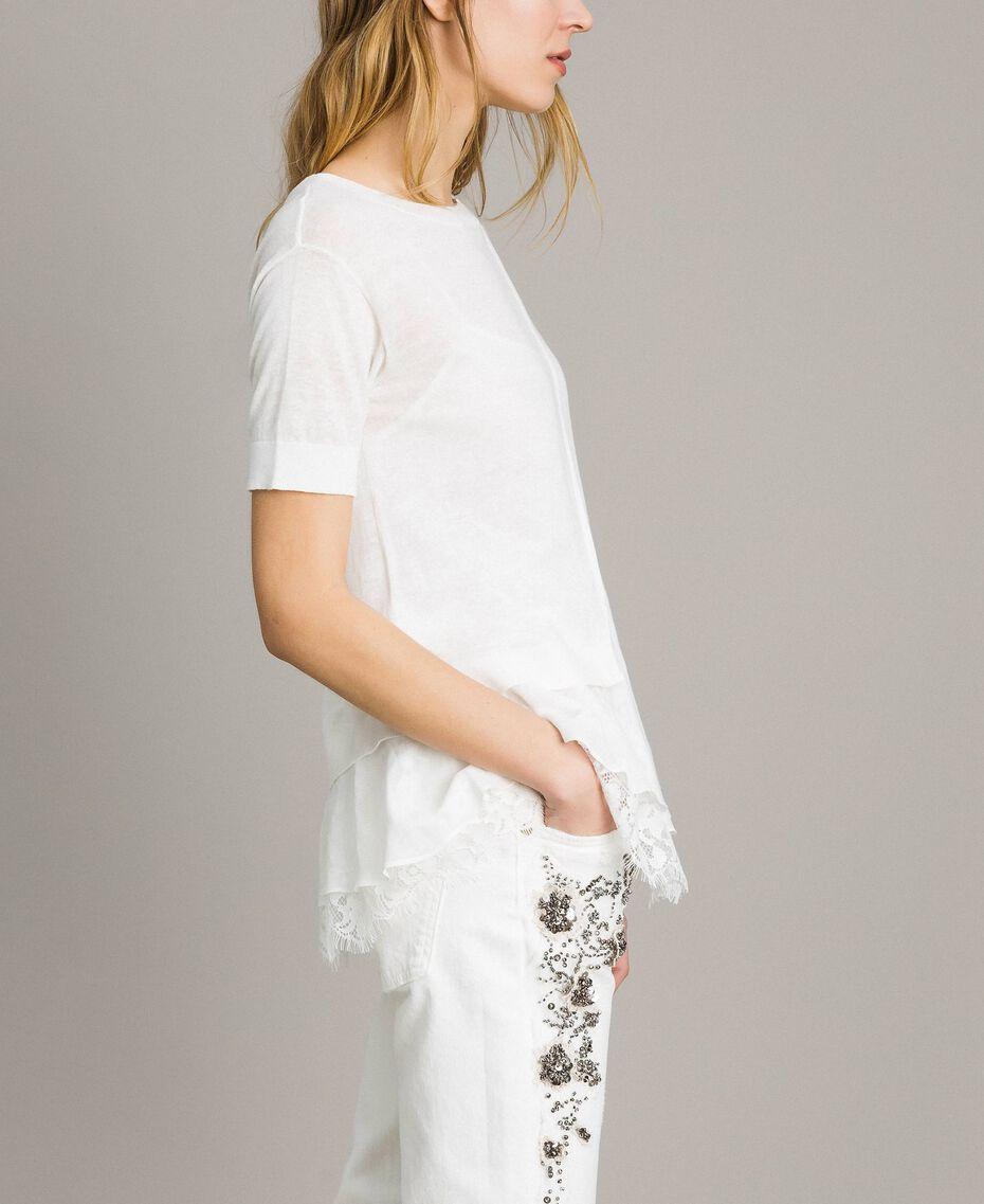 Asymmetrischer Pullover aus Leinenmischung mit Volant Mattweiß Frau 191ST3101-02