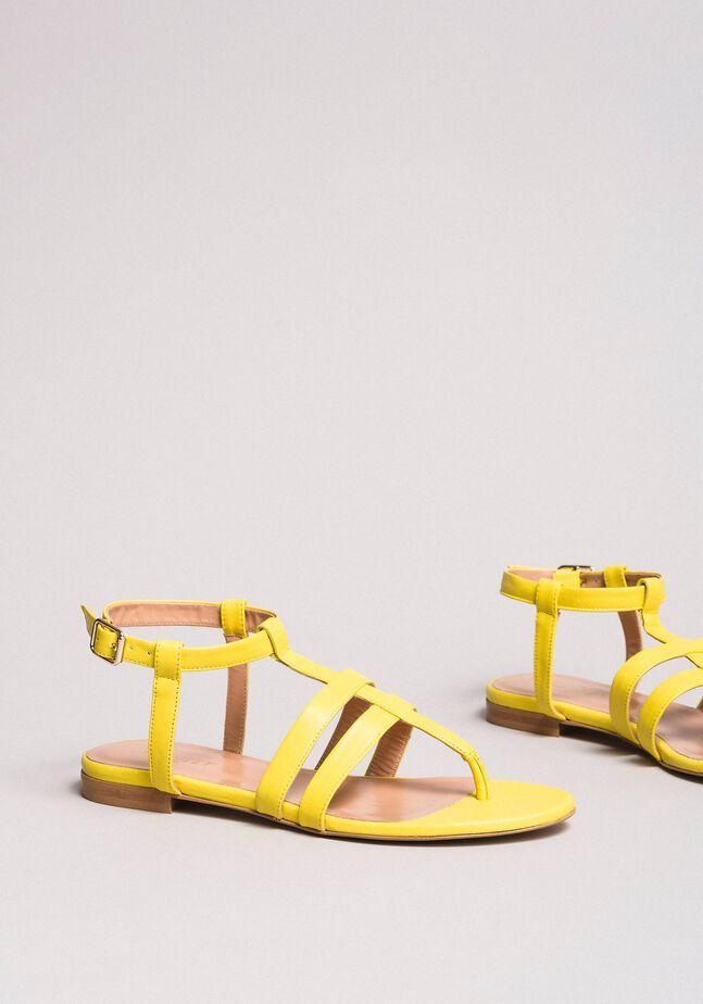 Sandales plates en cuir à imprimé animalier