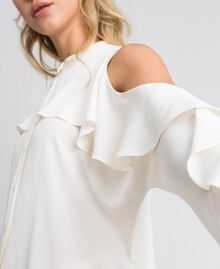 Camicia in crêpe de Chine con volant Bianco Neve Donna 192TT2432-04