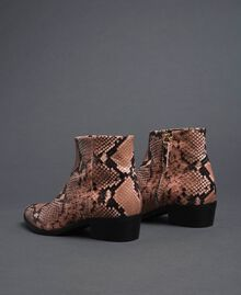 Animal print leather booties Mousse Pink Python Print Woman 192TCP10A-04