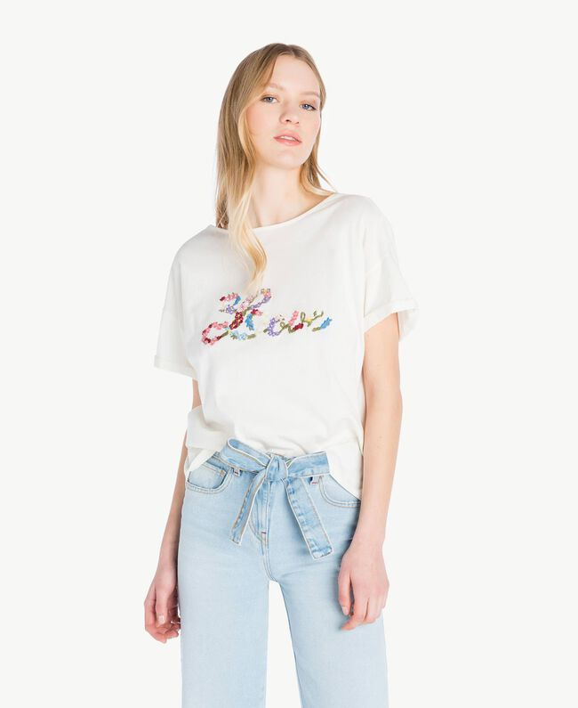 Embroidered T-shirt Light Ivory Woman PS82NR-01