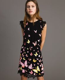 Patterned knit dress Black Butterfly Print Woman 191TT3180-01