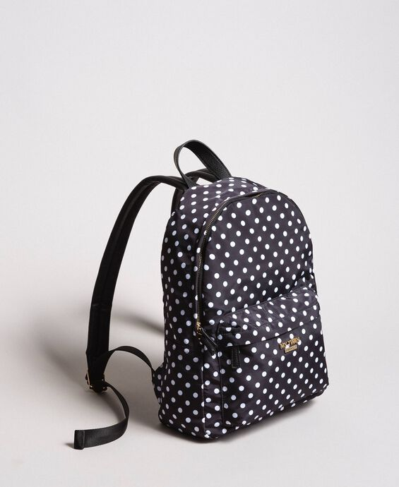 Technical fabric polka dot backpack