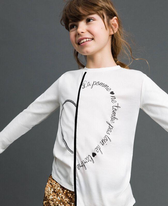 T-shirt asymétrique avec imprimé Blanc Enfant 192GJ2641-01