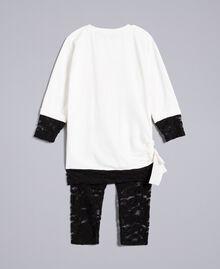 T-Shirt mit Print und Leggings aus Spitze Zweifarbig Off White / Schwarz Kind FA821V-0S
