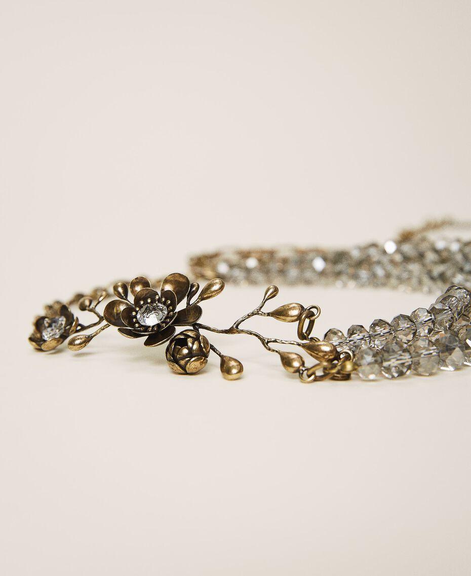 Halskette mit Blume und Perlchen Altmessing Frau 202TO5050-02