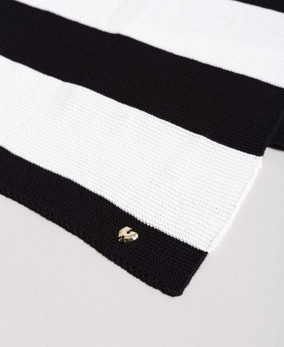 Écharpe jacquard rayée en coton Bicolore Noir / Blanc Femme 191MA4301-01