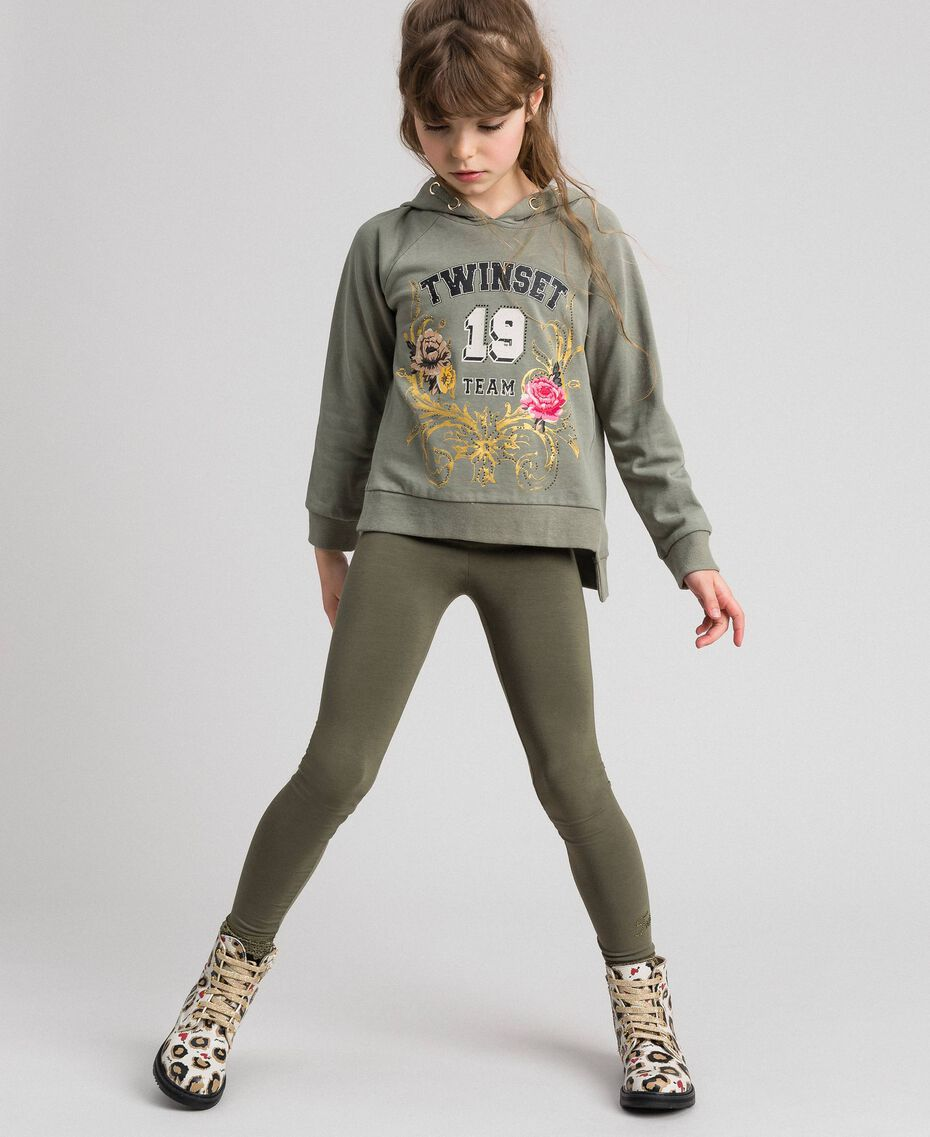 Jersey leggings with lace Alpine Green Child GCN2F4-02