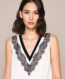 Robe longue en crêpe de Chine avec dentelle Bicolore Blanc «Soie»/ Noir Femme 201ST2010-05