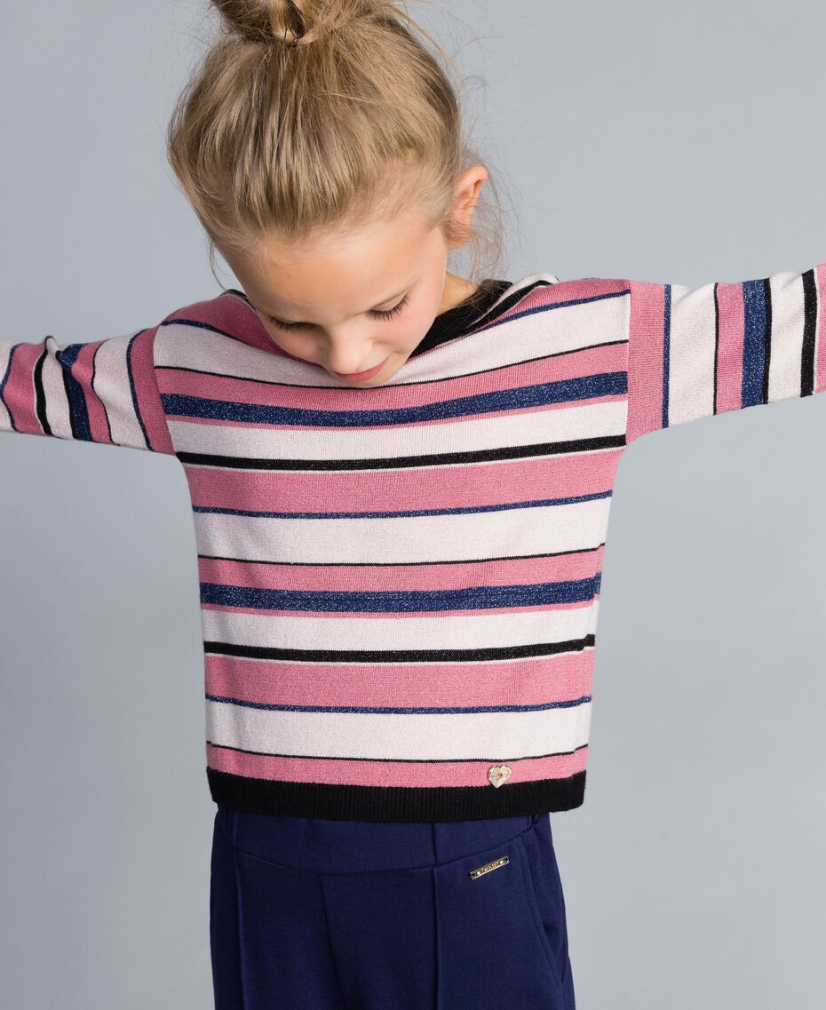 Lurex jacquard jumper Multicolour Stripe Jacquard Child GA83EB-0S