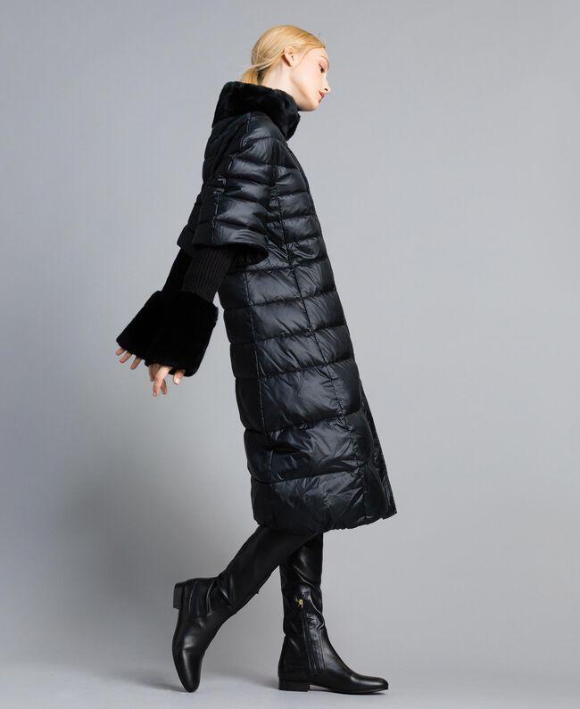 15dbd9904ee Doudoune longue en nylon brillant Noir Femme TA82C1-01