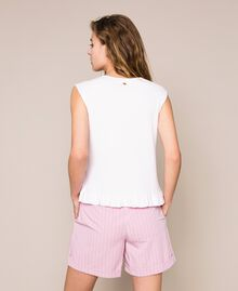 "Ribbed top with ruffle Pale ""Candy"" Pink Woman 201ST3122-03"