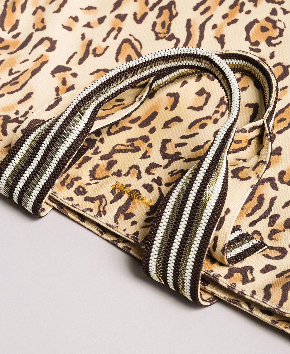 "Canvas beach bag with animal print ""Petra Sandstone"" Brown Animal Print Woman 191LM4UAA-02"