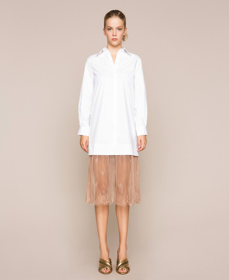 Poplin and lace shirt dress Two-tone Optical White / Light Brown Woman 201ST2028-01