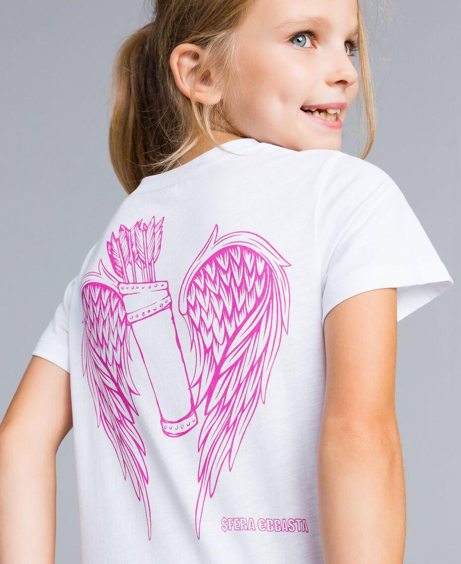 T-shirt unisexe junior en coton avec imprimé Blanc Enfant QA8TMP-0S