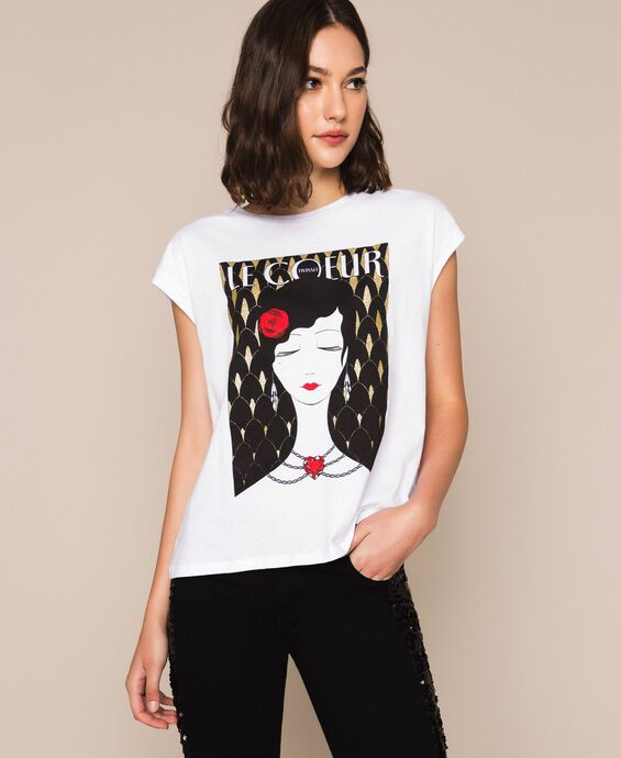Printed T-shirt with logo