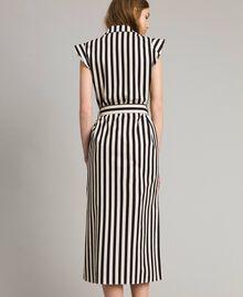 """Robe chemise en popeline à rayures Imprimé Rayures Noir / Beige """"Pâte d'Amande"""" Femme 191TT2282-03"""