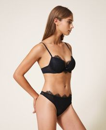 Lace and tulle push-up bra Black Woman 202LI6144-01