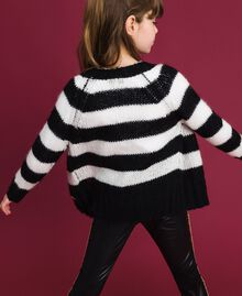 Two-tone striped mohair cardigan Ruby Wine Striped Jacquard / Red Child 192GJ3221-03