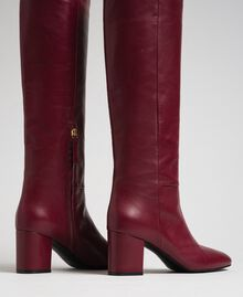 Leather high boots Beet Red Woman 192TCP100-03