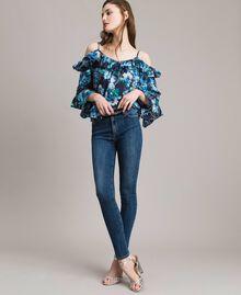 Grosgrain bestickte Skinny Jeans Denimblau Frau 191MP2483-01