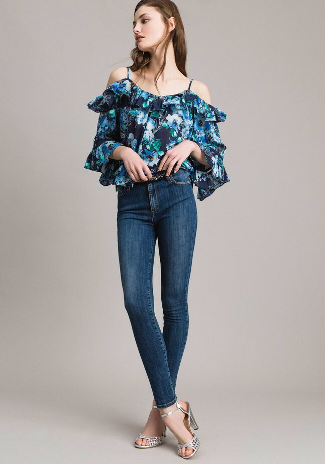 Grosgrain embroidered skinny jeans
