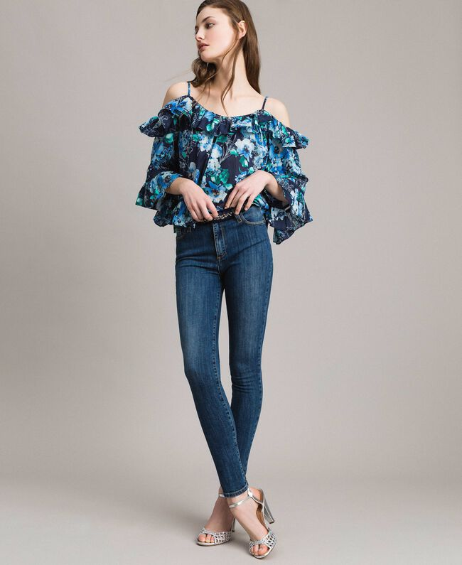 Jeans skinny con gros-grain e ricamo Denim Blue Donna 191MP2483-01