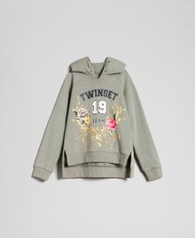 Bedrucktes Sweatshirt mit Logo Brokatprint Gold / Alpingrün Kind 192GJ2444-0S