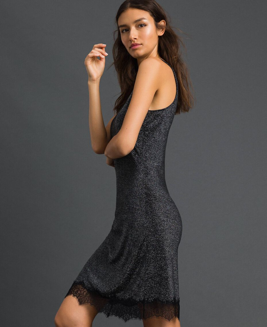Nuisette en lurex avec dentelle Noir Lurex Argent Femme 192LL6BNN-02