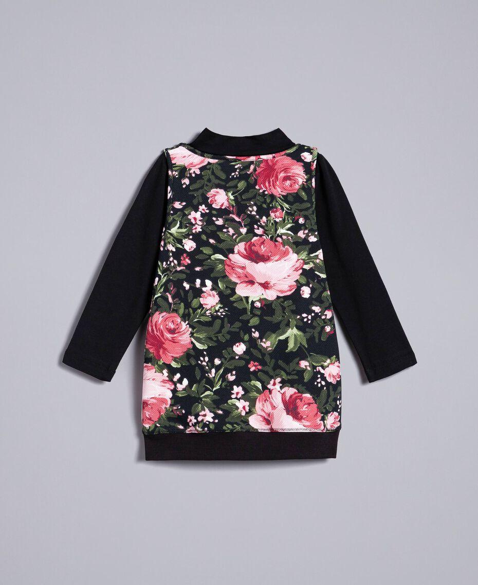 Pull à col montant en jersey et maxi top Imprimé Roses / Noir Enfant FA82LA-0S
