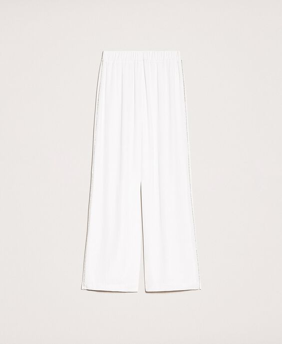 Pantalon palazzo en crêpe avec strass