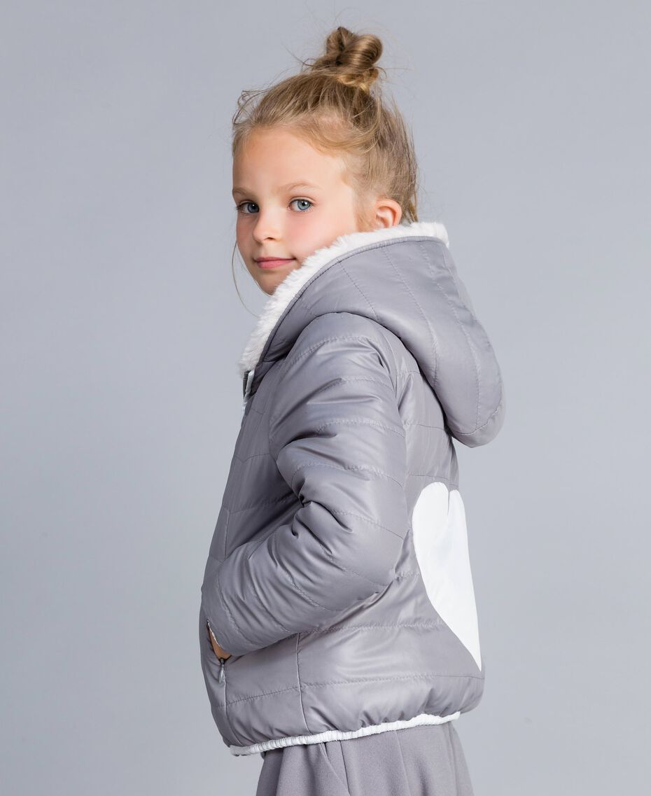 "Reversible padded jacket Bicolour Off White / ""Stone"" Grey Child GA82AG-02"