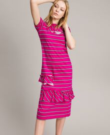 "Striped long dress with ruffle ""Electric Pink"" Fuchsia Striping Woman 191TP2281-02"
