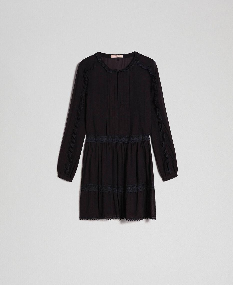Robe en crêpe georgette avec petits volants et dentelle Bicolore Blanc Neige/ Noir Femme 192TP2573-0S