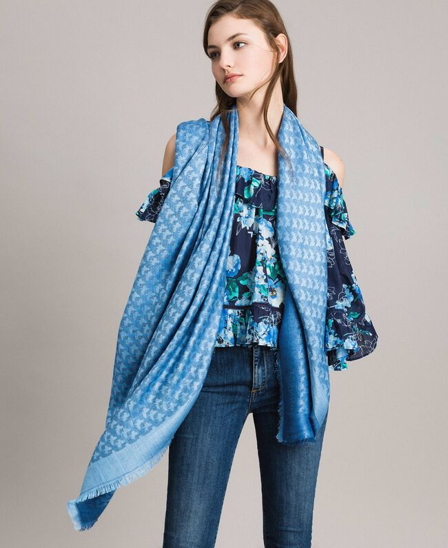 Jacquard keffiyeh with butterflies Deep Blue Butterflies Jacquard Woman 191TA436D-0S