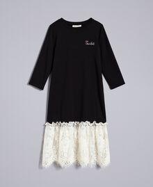 Robe longue en jersey avec dentelle Bicolore Noir / Blanc Cassé Enfant GA82GN-01
