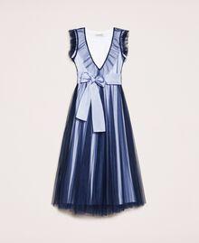 """Langes Kleid aus Tüll mit Volant Zweifarbig Nachtblau / """"Papers""""-Weiß Kind 201GJ2Q50-0S"""