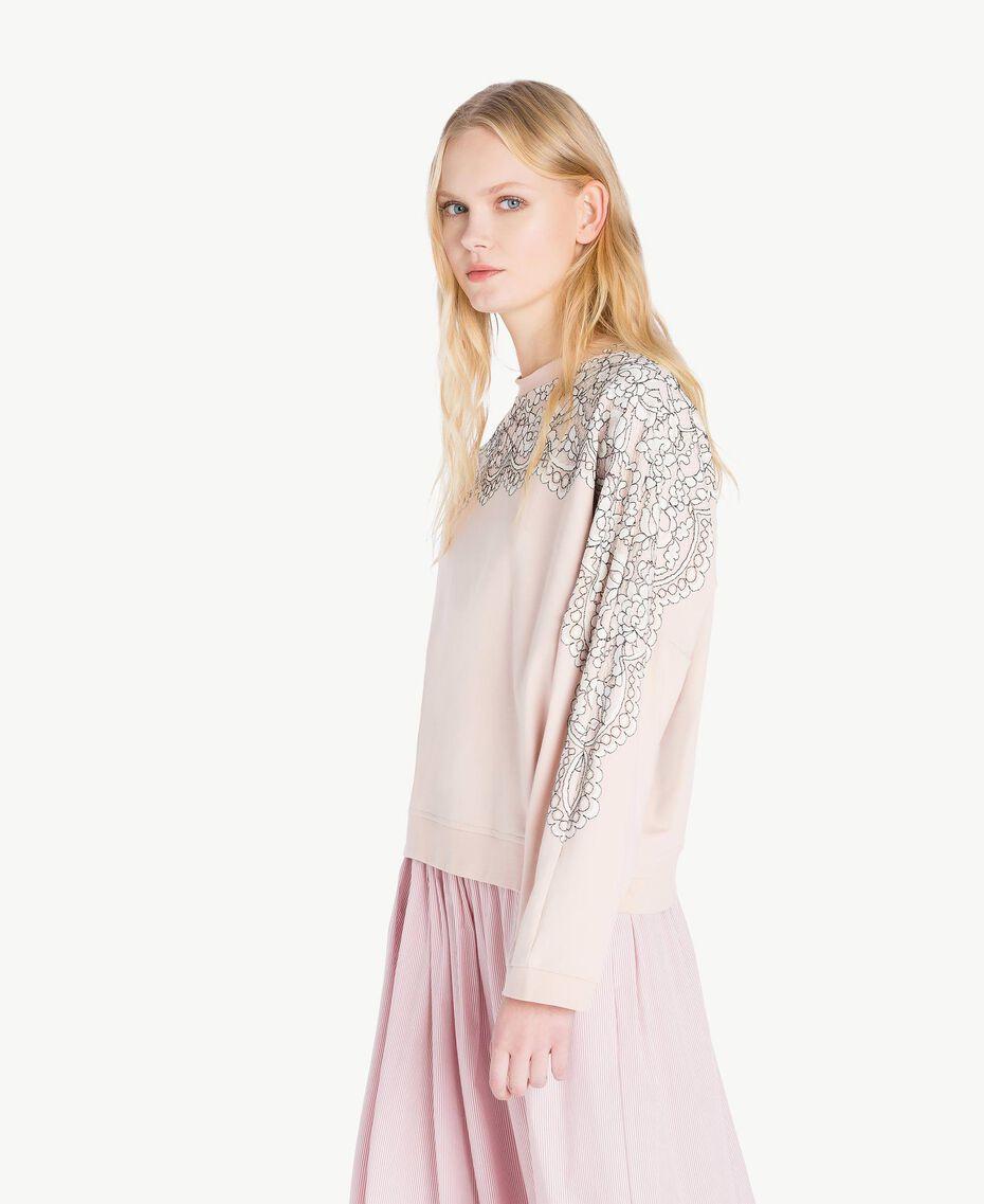 Sweatshirt aus Spitze Quarzrosa Frau JS82H1-02