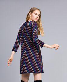 Multi-coloured jacquard lurex dress with stripes Blue Lurex Stripe Jacquard Woman TA838D-03