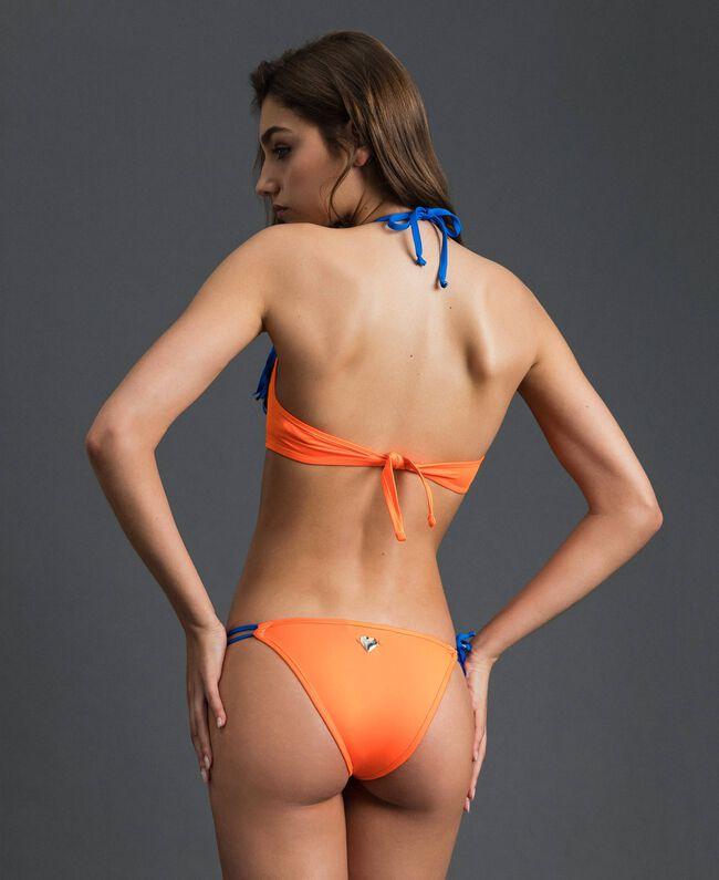 Maillot de bain bikini avec franges Orange Fluo / Bleu Fluo Femme 191TQM024-03