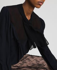 Crêpe de Chine and georgette blouse Black Woman 192TT2430-04