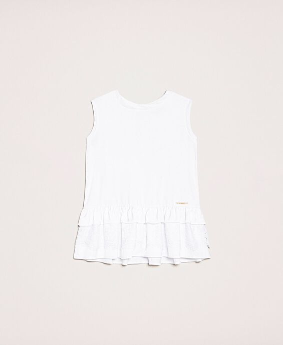 Tank top with lace and tulle flounces