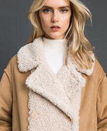 Manteau réversible en faux mouton Blanc «Vanille» / Crème Caramel Femme 192MT2020-01