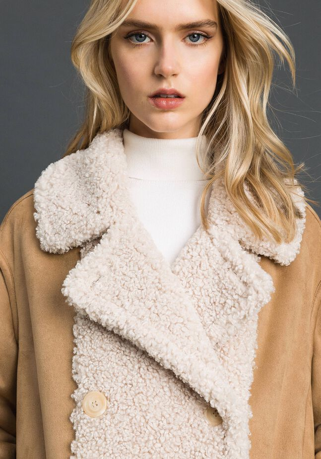 Двустороннее пальто из искусственной овчины