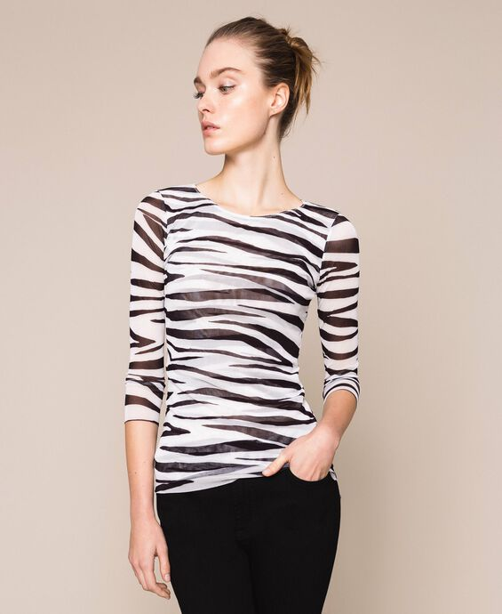 Top in tulle animalier