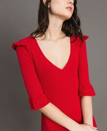 "Knit dress with ruffles ""Ruby"" Red Woman 191TP3271-04"